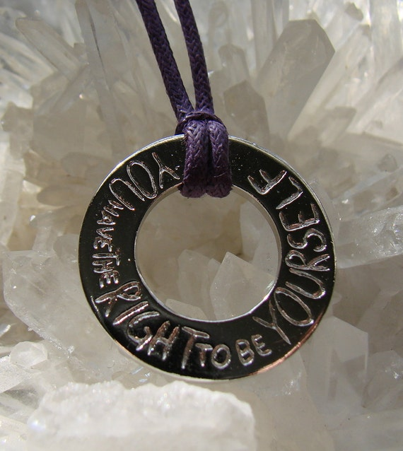 You Have The Right To Be Yourself  Purple Cord Necklace