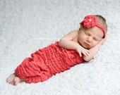 Open Cocoon and Headband Set, Coral Mini Ruffle Fabric, Newborn Photo Prop