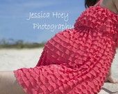 Knee Length Ruffle Maternity Dress with Halter Ties, Coral, Soft Pink, Ivory, Chocolate, Berry, Custom Made to Order