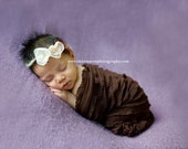 Chocolate Baby Cocoon and Chiffon Triple Flower Tieback, Newborn Photo Props