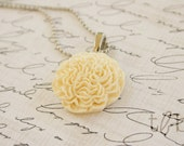 CYBER MONDAY SALE  Mama Belles Cream Carnation Necklace