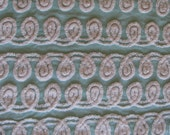 """Mint Green Vintage Chenille Fabric with Plush Ivory White Curly Q's 35"""" x 16"""""""