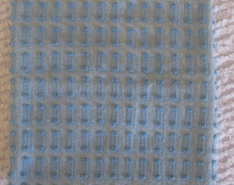 """Pastel Blue Buttonhole Vintage Chenille Bedspread Fabric  with fringe 24"""" x 21.5"""""""