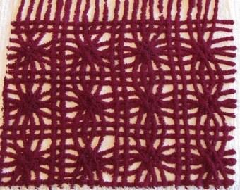 Burgandy and Cream Mini-Wedding Ring Vintage Chenille Fabric