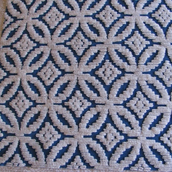 Royal Blue and White Vintage Chenille Fabric - Large Piece