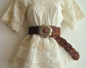 vintage 1930's deco cream crochet Mexican blouse peasant babydoll top, size small