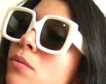 vintage 1960's Brigitte Bardot square frame white sunglasses, glasses