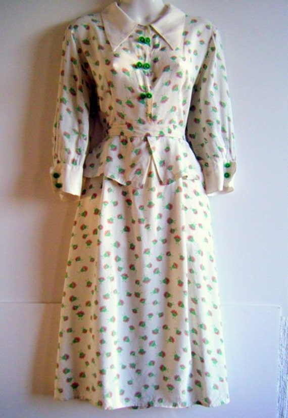 1940's floral garden party peplum dress, plus size 14 - 16