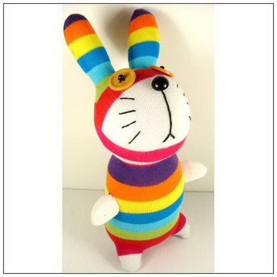 Handmade Sock Rabbit Bunny Stuffed Animal Doll Baby Toys easter gift