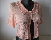RESERVED Apricot Viscose Hand Knitted Cardigan Spring Summer Fashion