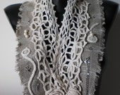 REDUCED Indian Summer - Scarf - Collar  - Wearable Art - Lace - Spring Fashion - levintovich