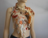 Reserved  for Mieke 10.  Capelet Collar Freeform Crochet Wearable Art  Winter Accessories