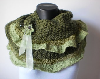SALE 40% OFF Romantic Hand Knit Scarf  Shawl in shades of green Gift for her