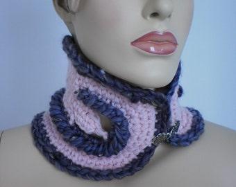 Pink and Plum Freeform Crochet Scarf - Neck warmer
