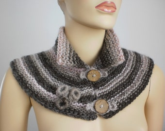 Hand Knitted Scarf Capelet  in  Beige  Brown  Pale Pink, Knit Cowl, Knitted Neck warmer , Wnter Accessories