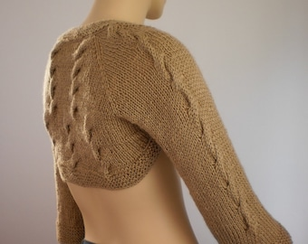 Gold Beige Hand Knitted Shrug  with Brooch / Fall Fashion