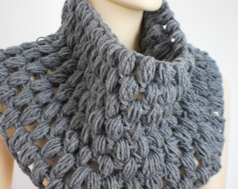30% OFF Crochet Grey Scarf Cowl Scarf Neck Warmer