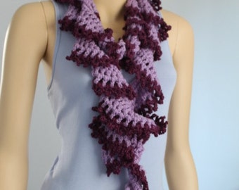 Crochet Scarf,Ruffle Crochet  Lariat Scarf  in shades of  Lilac and Plum , Crochet  Neck Warmer , Long Scarf, Knit Scarf, Gift for Her