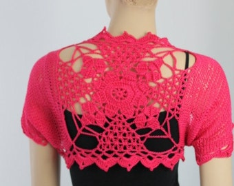 Ready to ship Crochet Knit Hot Pink Cotton  Mandala  Shrug Vest / Size M - L / Fall  Summer Fashion