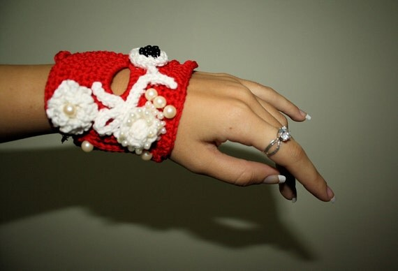 Red and White Crochet Bracelet Cuff FREEFORM Holiday Accessories