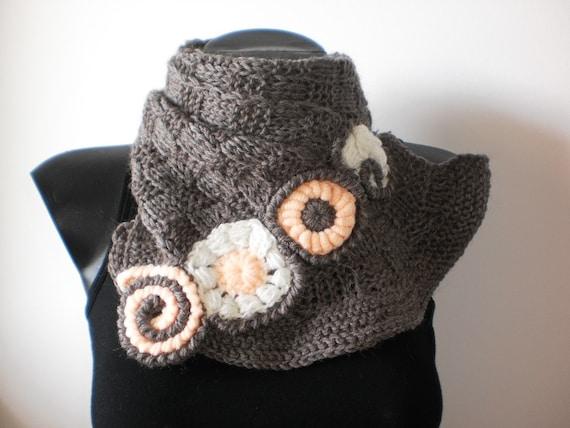 Alpaca Hand Knitted Brown Scarf Neck Warmer