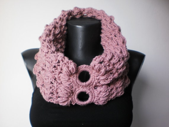 Crochet Cowl Scarf in Lavender Pink- Winter Accessories