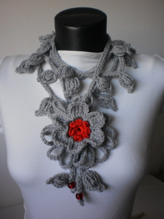 Crochet Lariat  Scarf with Flower pin -  holiday accessories