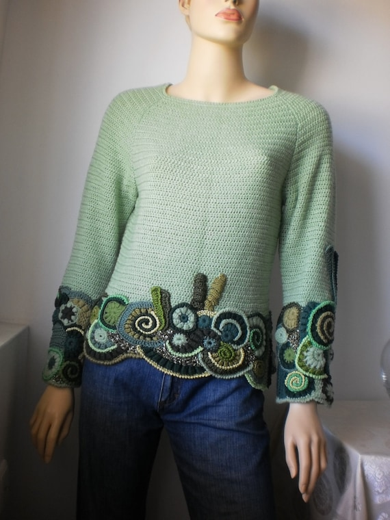 Reserved for Fortuna. Mint  sweater / Freeform Crochet / Wearable Art
