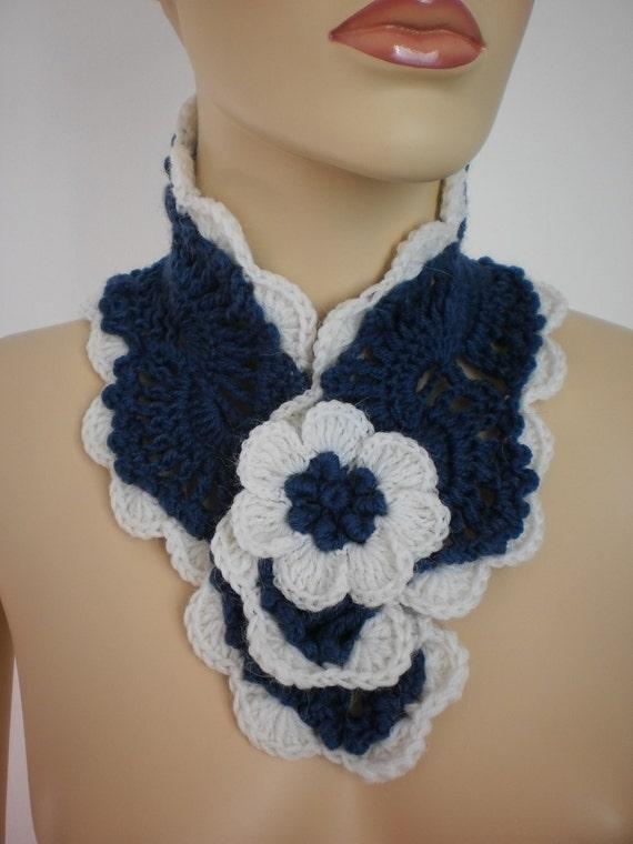 Blue and White Crochet Scarf Scarflette Neck Warmer