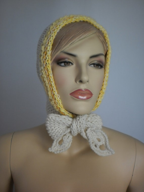 Ivory hand knitted  Hood  Hooded Scarf  Winter Accessories