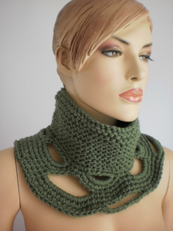 Fall Fashion -Hand Knitted and Crochet Cowl Scarf - Neck warmer - green scarf