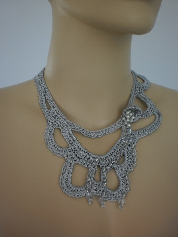 Fall Fashion Grey Crochet Necklace Crochet Jewelry Lace Holiday Accessories