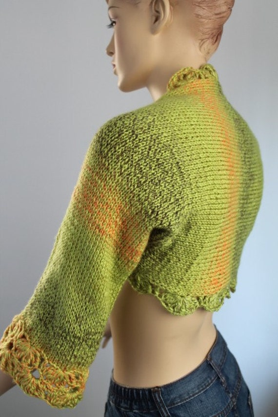 Multicolor  Hand knitted Soft Warm Shrug  3/4 Sleeved Spring Fashion
