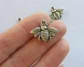 10 Bee charms antique silver tone BEE21