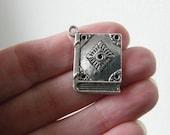 4 Book pendants antique silver tone PT27