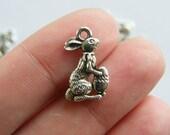 10 Easter bunny charms tibetan silver P112