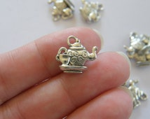BULK 50 Teapot and teacup charms antique silver tone FD54