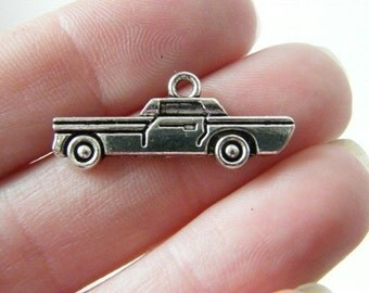 8 Car charms antique silver tone TT11