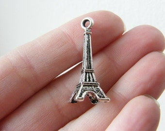 BULK 40 Eiffel tower pendants antique silver tone WT31