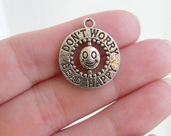 6 Don't worry bead happy charms antique silver tone M264