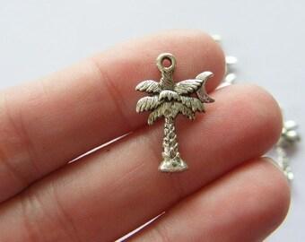 8 Palm tree charms tibetan silver T25
