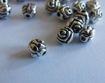 20 Rose tibetan silver spacer beads F90