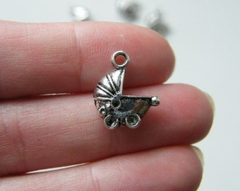 6 Baby pram charms antique silver tone BS37