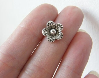 BULK 50 Flower  charms or buttons tibetan silver F36