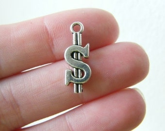 BULK 50 Dollar sign charms tibetan silver WT98
