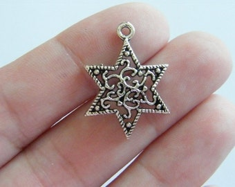 BULK 50 Star charms antique silver tone S2