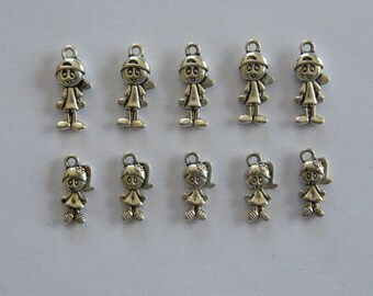The Boy and Girl Collection - 10 antique silver tone charms