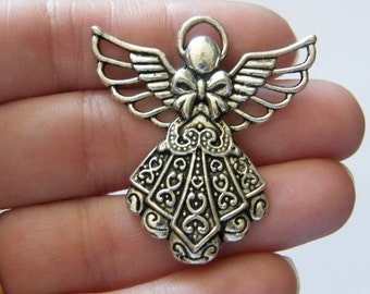 BULK 10 Angel pendants antique silver tone AW69