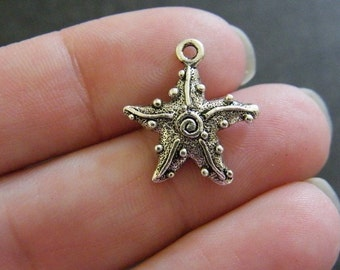 BULK 30 Starfish charms antique silver tone FF199