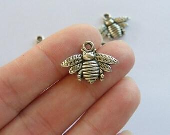 BULK 50 Bee charms  antique silver tone A315